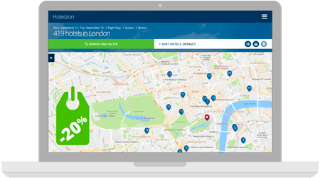Map with three location icons and a price tag of -20% discount on hotel spend on a laptop screen