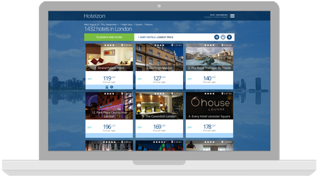 Screenshot displayed on a laptop of business hotels options ready to be selected