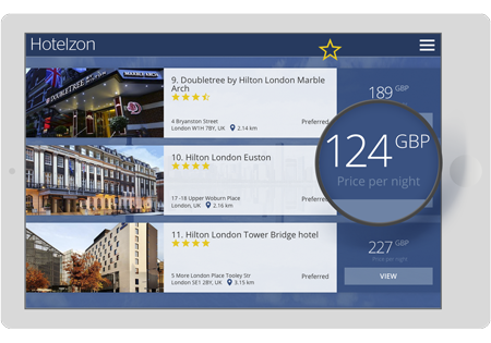 Tablet with a screenshot of Hotelzon's hotel search page highlighting an affordable hotel price