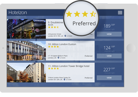 Tablet with a screenshot of Hotelzon's hotel search page highlighting the option to prioritize preferred hotels
