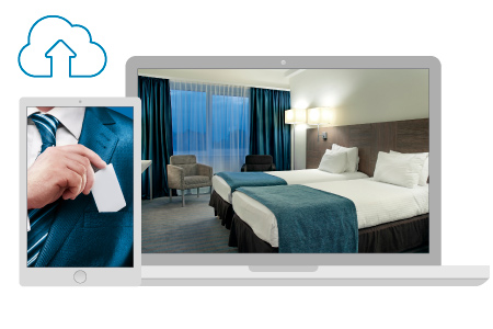 Modern and comfortable business hotel room picture displayed on a laptop