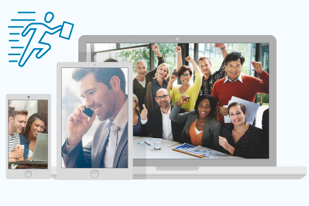 Mobile phone, tablet and laptop screens displaying pictures of happy business travelers