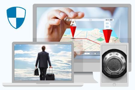 Laptop with a picture of a business traveler feeling safe during his business trip, and desktop screen with a picture of a travel manager checking details of other reservations