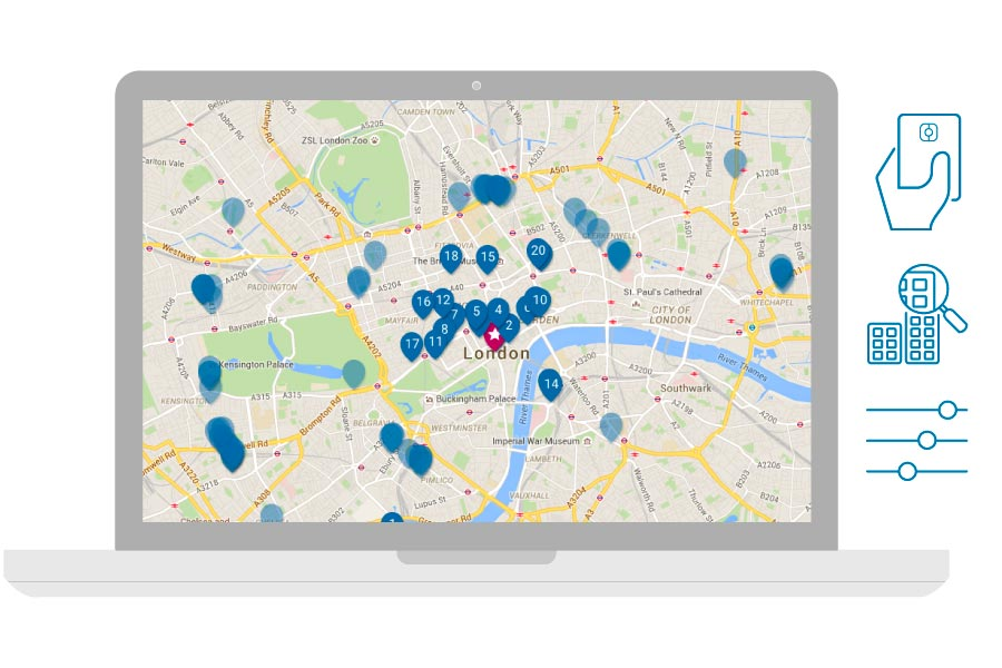 Laptop showing a map with available business hotels in London