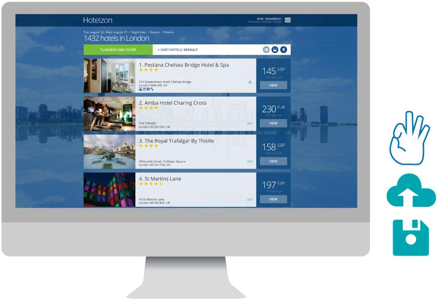 Desktop computer showing a search of hotels in London in Hotelzon's corporate hotel booking tool